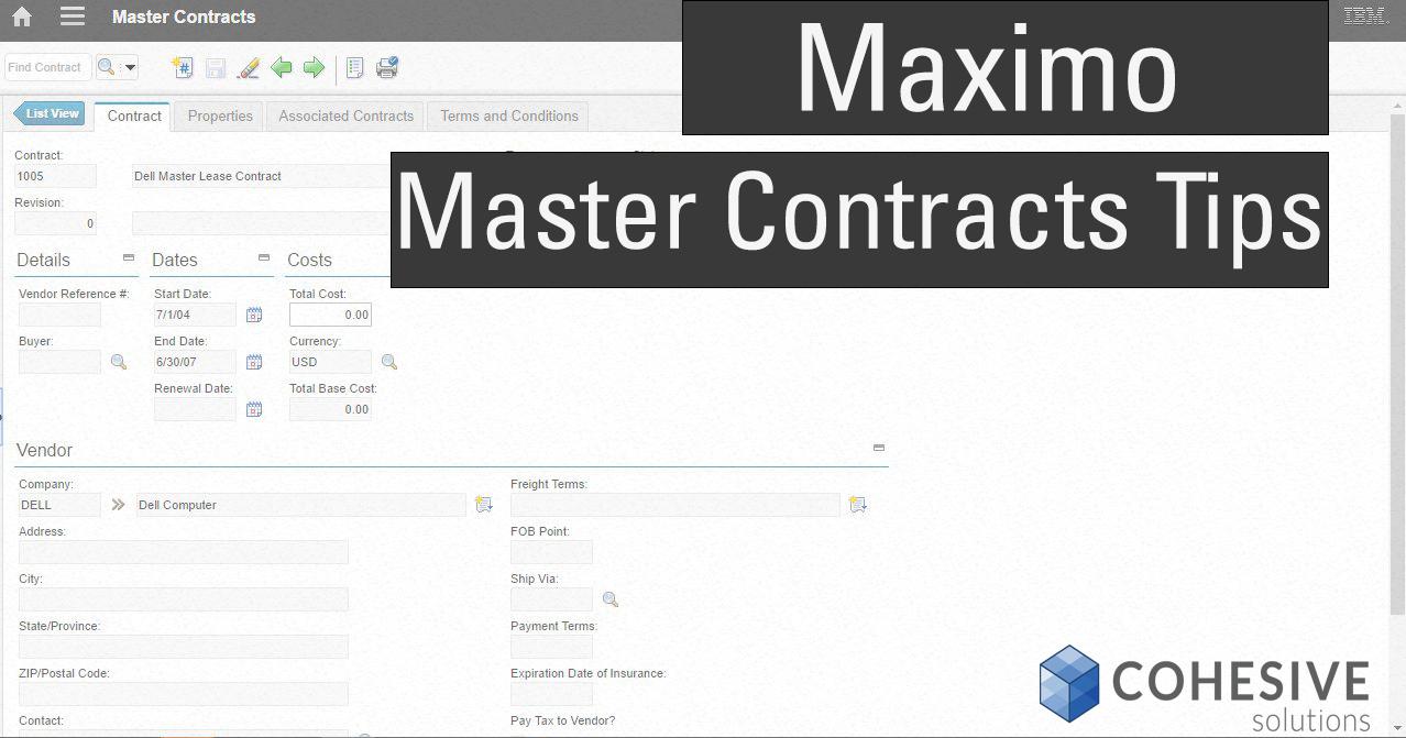 Maximo Master Contract Tips